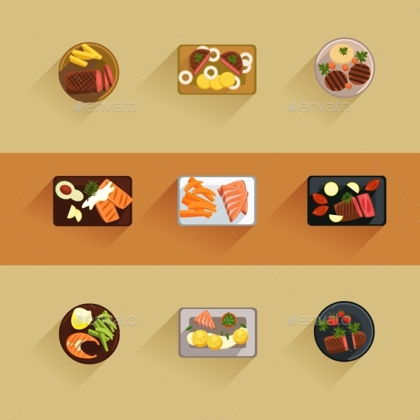 Fish And Meat Steaks Cooking Icon Flat Isolated - Food Objects