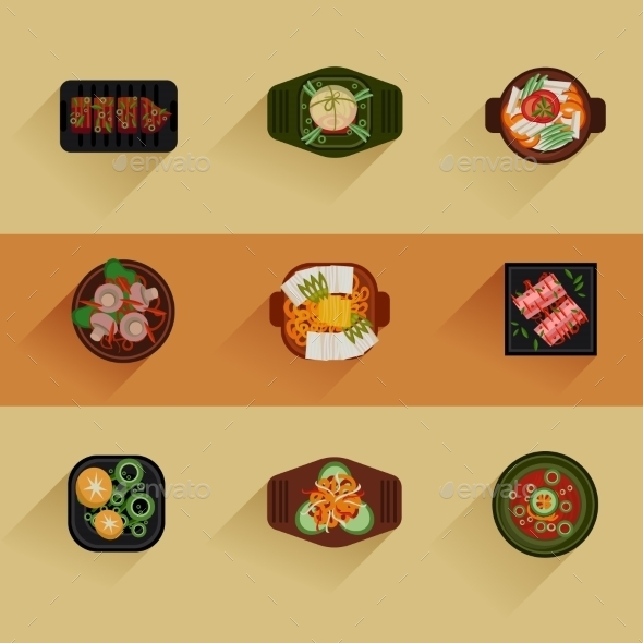 Food Illustration Korean Food Vector Icon  - Food Objects