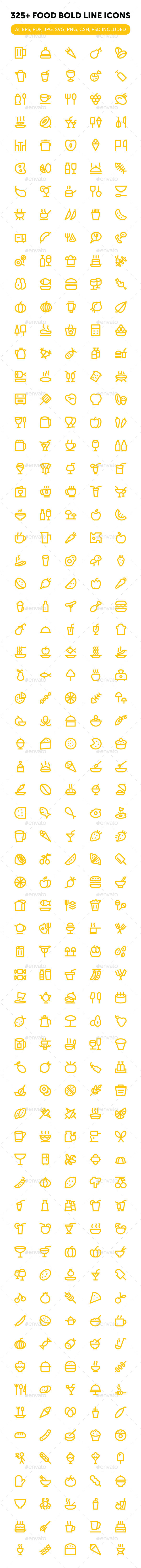 325+ Food Bold Line Icons - Food Objects