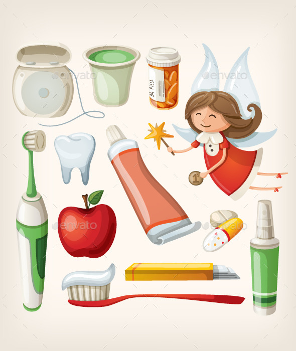 Set of Items to Keep Your Teeth Healthy - Health/Medicine Conceptual