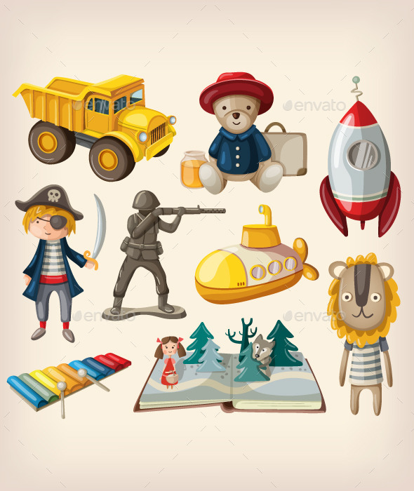 Set of Old-Fashioned Toys - Man-made Objects Objects