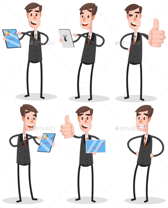 Set Flat Businessman With Tablet  - Concepts Business