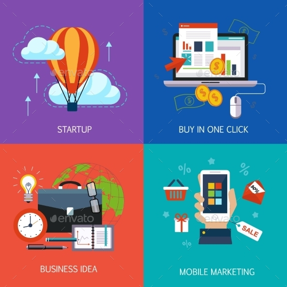 Business Banners, Start-up, Buy In One Click - Concepts Business