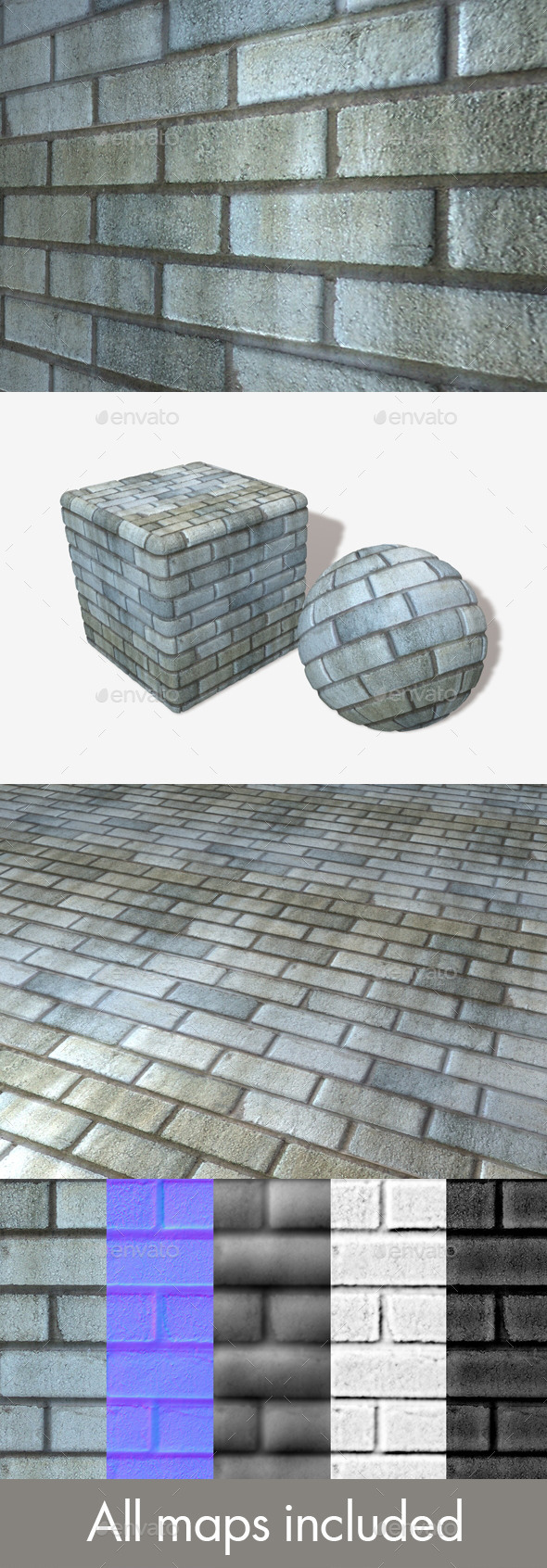 Blue Grey Bricks Seamless Texture - 3DOcean Item for Sale