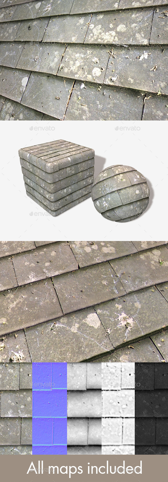 Grey Roof Tiles Seamless Texture - 3DOcean Item for Sale