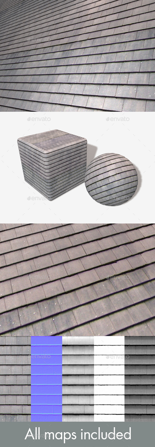 New Clean Roof Tiles Seamless Texture - 3DOcean Item for Sale