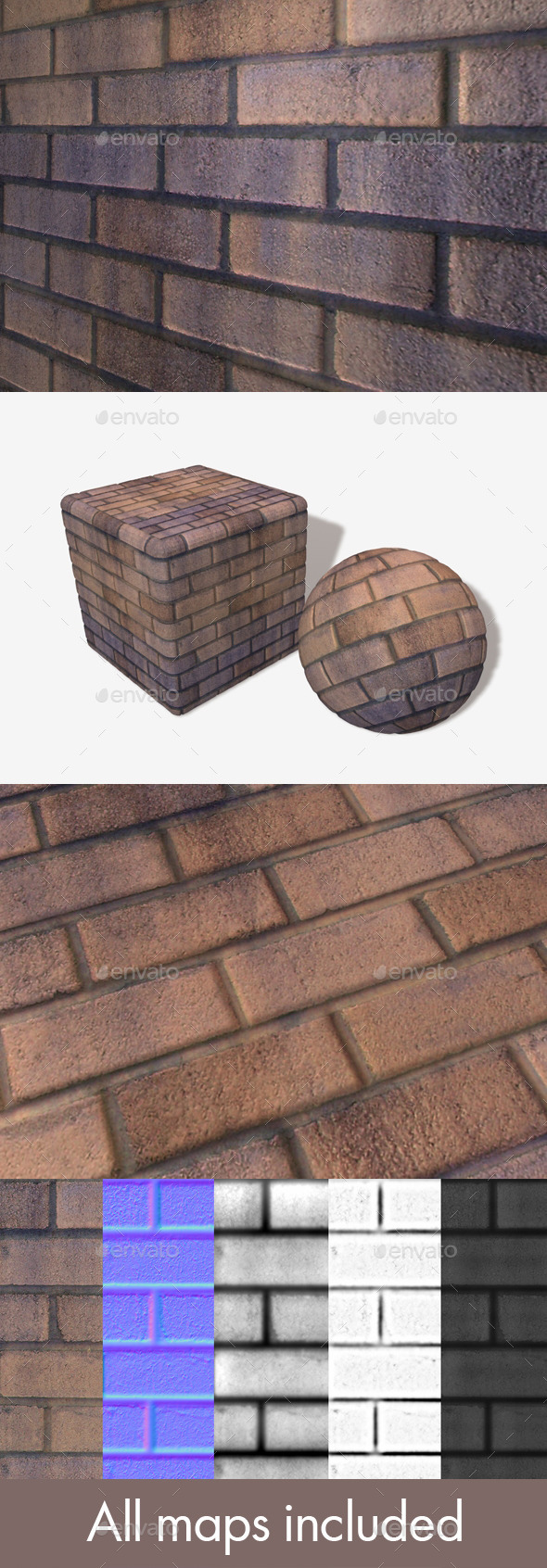 Orange Purple Brick Wall Seamless Texture - 3DOcean Item for Sale