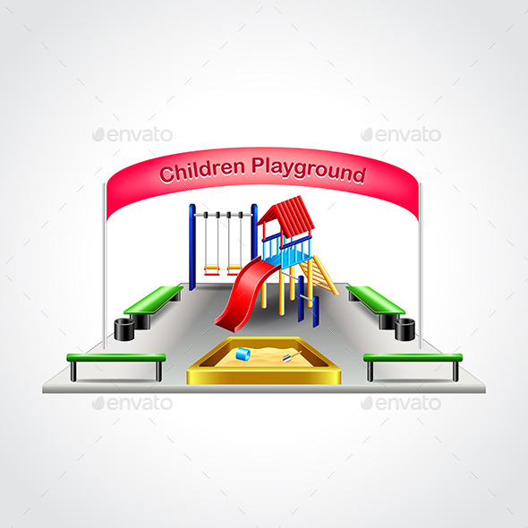 Children Playground Isolated Vector Illustration - Man-made Objects Objects