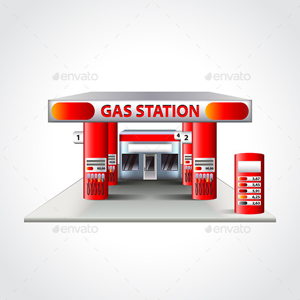 Gas Station Building Isolated Vector Illustration - Man-made Objects Objects