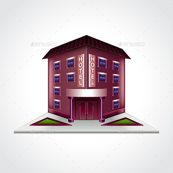 Hotel Building Isolated Vector Illustration - Man-made Objects Objects