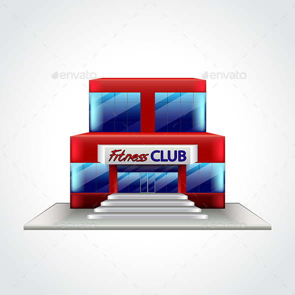 Fitness Club Building Isolated Vector Illustration - Sports/Activity Conceptual