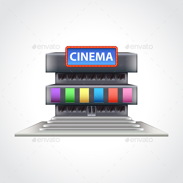 Cinema Building Isolated Vector Illustration - Man-made Objects Objects