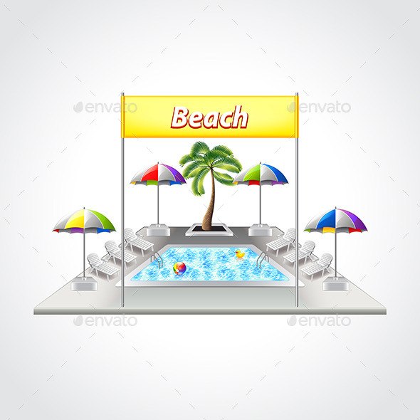Beach with Swimming Pool Isolated Vector - Man-made Objects Objects