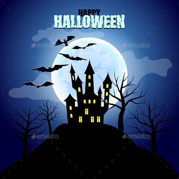 Forest with Castle and moon Halloween Background - Halloween Seasons/Holidays