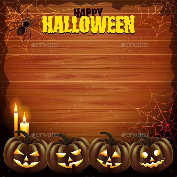 Four Pumpkins on Wood Background - Halloween Seasons/Holidays