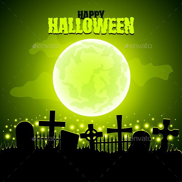 Green Moon and Graveyard Halloween Background - Halloween Seasons/Holidays