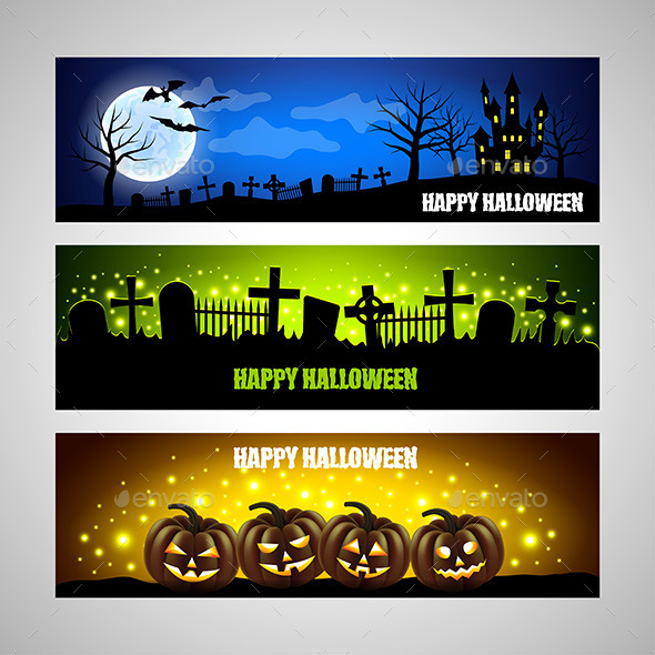 Three Horizontal Halloween Banners - Halloween Seasons/Holidays