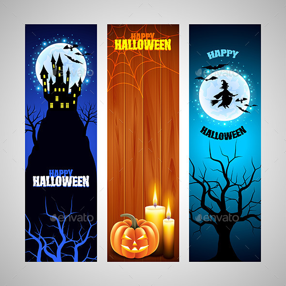 Three Vertical Halloween Banners - Halloween Seasons/Holidays