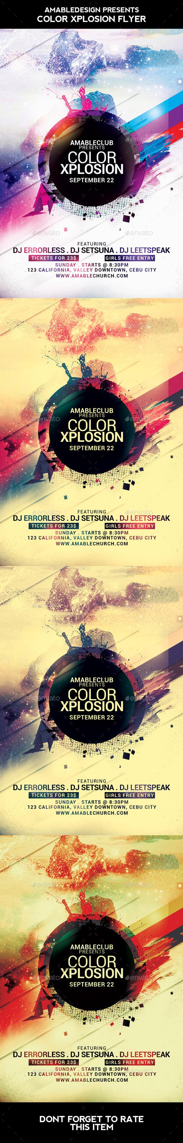 Color Xplosion Flyer - Clubs & Parties Events