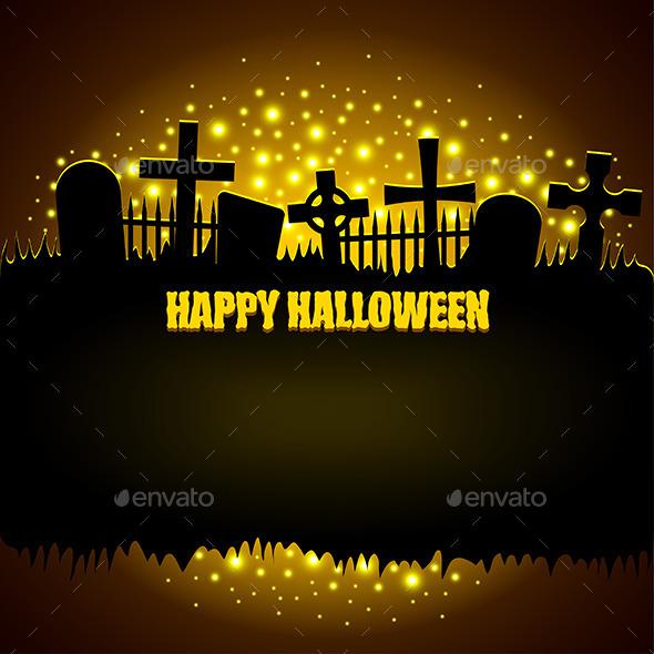 Dark Background with Glowing Graveyard - Halloween Seasons/Holidays