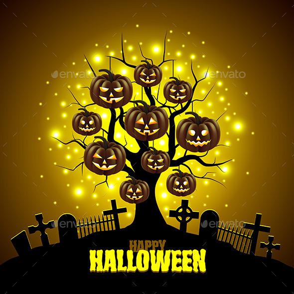 Magic Tree with Pumpkins Halloween Background - Halloween Seasons/Holidays