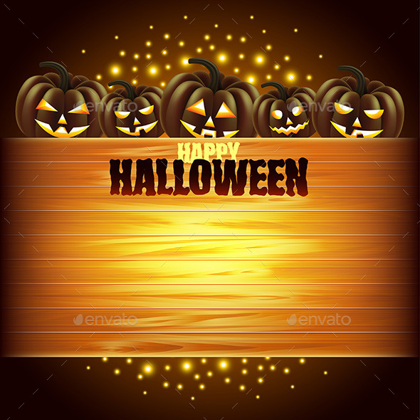 Pumpkins and Wooden Texture Halloween Background