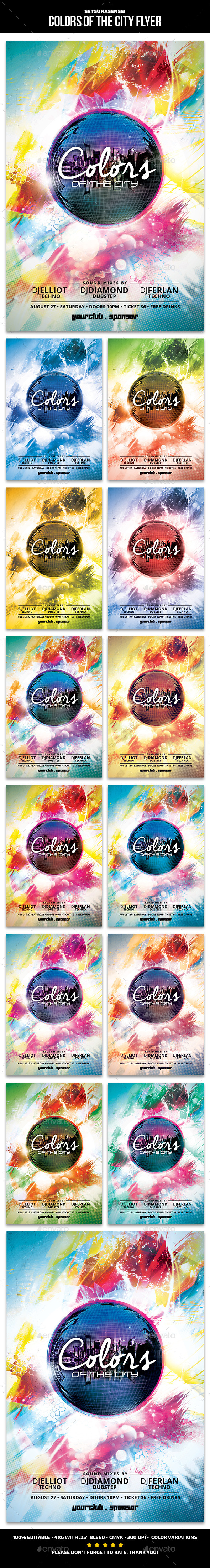Colors of the City Flyer - Clubs & Parties Events