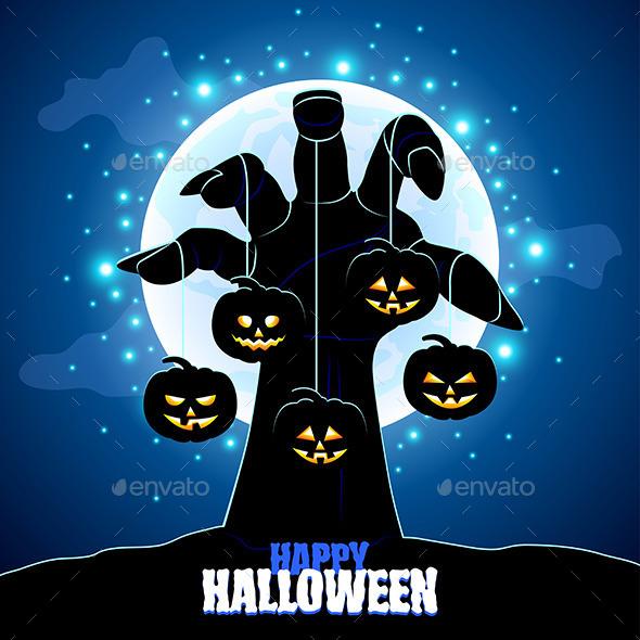 Zombie's Hand Holding Pumpkins - Halloween Seasons/Holidays