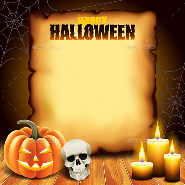 Paper with Pumpkin, Skull and Candles - Halloween Seasons/Holidays
