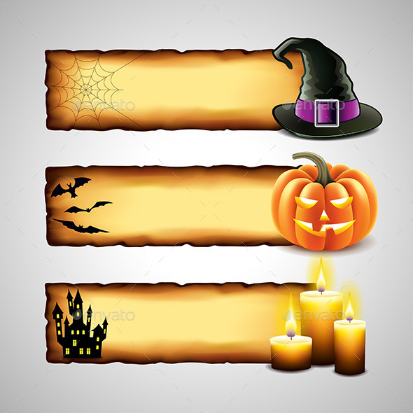 Three Horizontal Halloween Banners from Paper - Halloween Seasons/Holidays