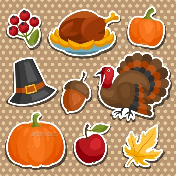 Set of Happy Thanksgiving Holiday Sticker Objects - Seasons/Holidays Conceptual