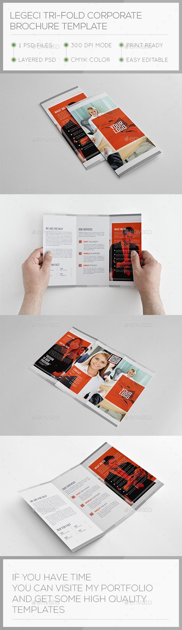 Legeci Corporate Trifold Brochure Template - Corporate Brochures