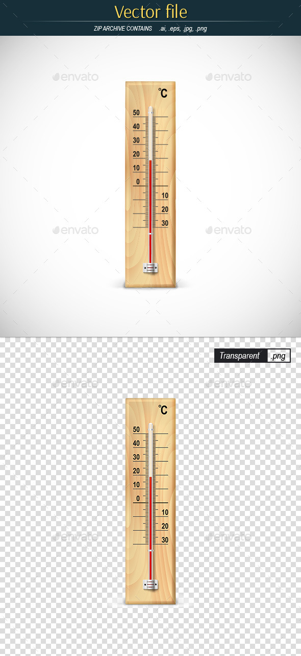 Mercury Thermometer on Wooden Base - Man-made Objects Objects