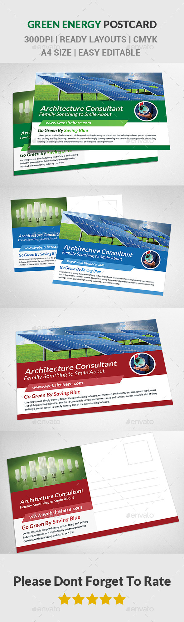 Green Energy Postcard - Cards & Invites Print Templates