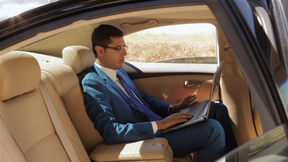 Businessman Working On The Computer In Back Seat