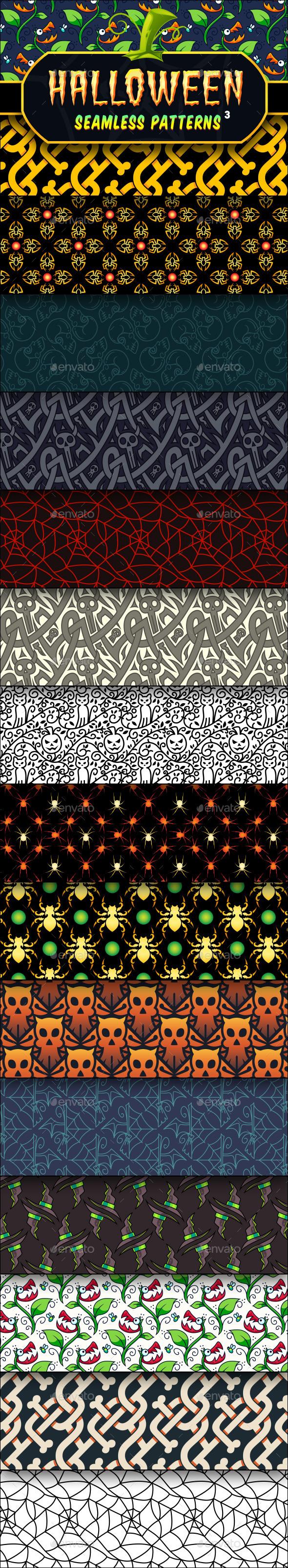 Halloween Seamless Patterns Set 3  - Halloween Seasons/Holidays