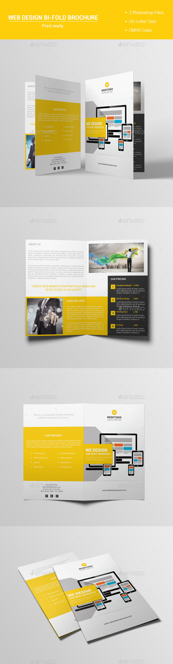Web Design Bi-Fold Brochure V1 - Corporate Brochures