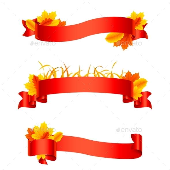 Red Autumn Ribbons and Banners - Flowers & Plants Nature