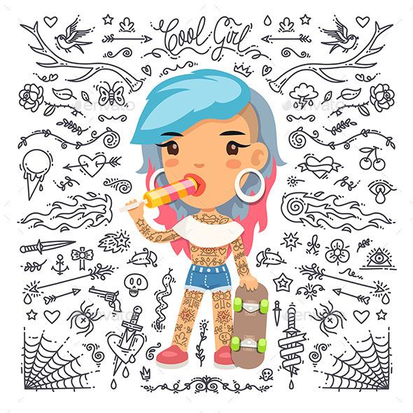 Cartoon Tattoo Girl with Skateboard - Tattoos Vectors