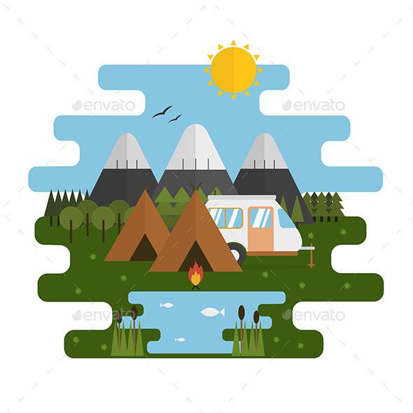Mountain Lake RV Camp Ecological Landscape - Landscapes Nature