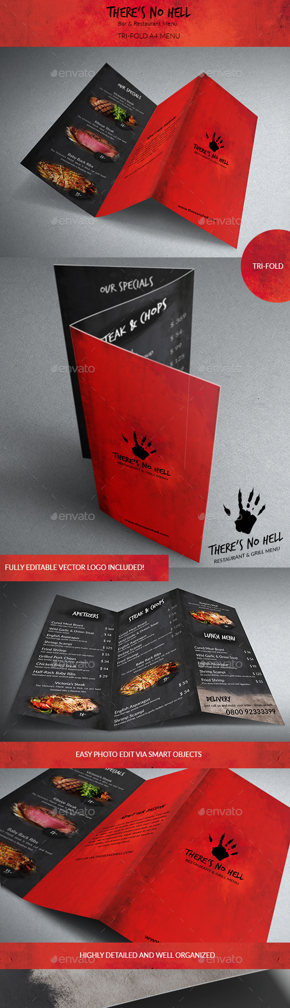 There's no Hell Tri-Fold Menu - Food Menus Print Templates