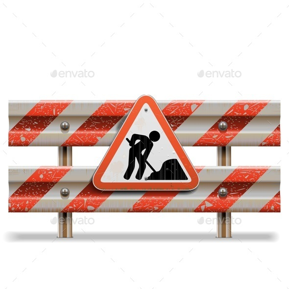 Vector Old Barrier with Sign - Industries Business