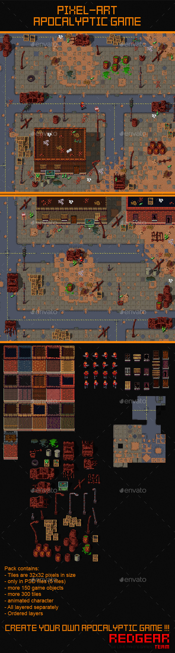 2D Pixel Art Apocalyptic Game Assets - Game Kits Game Assets