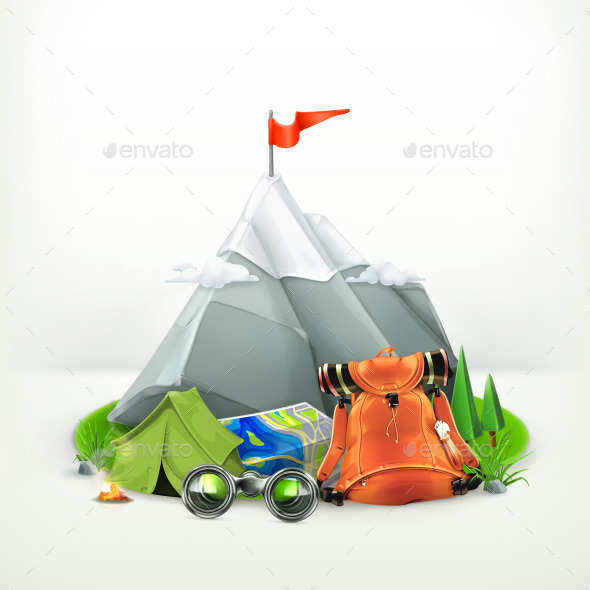 Backpacking Vector Illustration