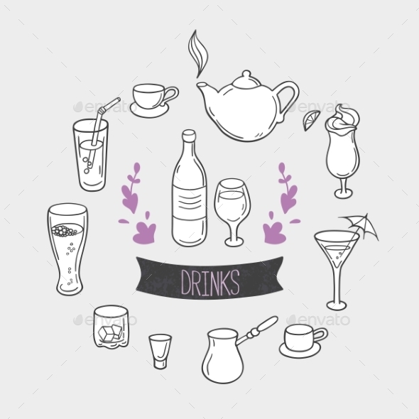 Set Of Hand Drawn Stylized Drinks In Vector - Food Objects