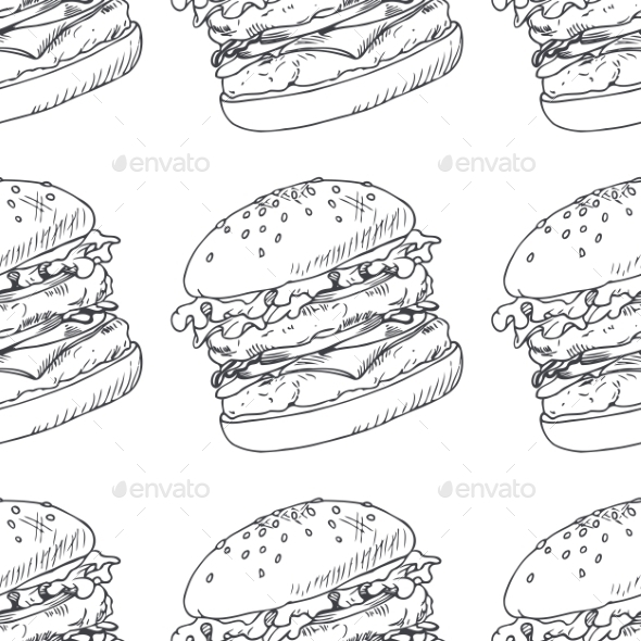 Seamless Pattern With Sketched Burger