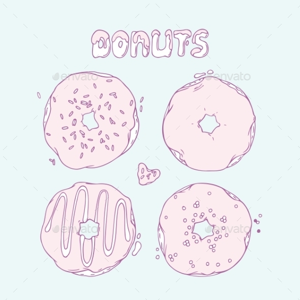 Set Of Hand Drawn Donuts Isolated In Vector. Sweet - Food Objects