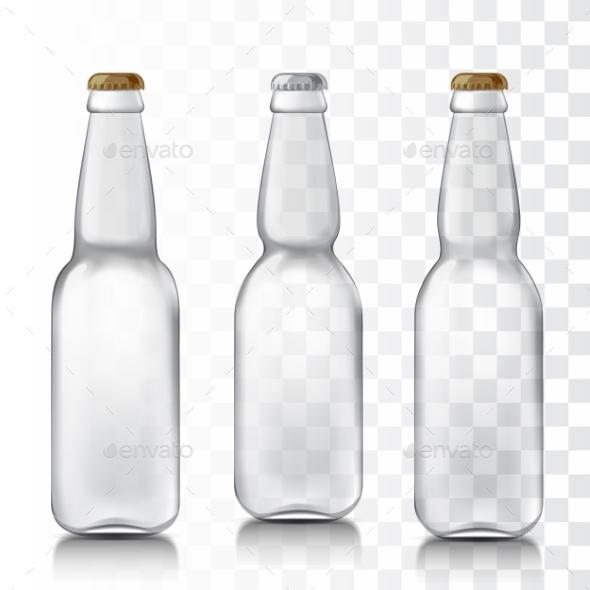 Set Realistic Glass Bottles. - Objects Vectors