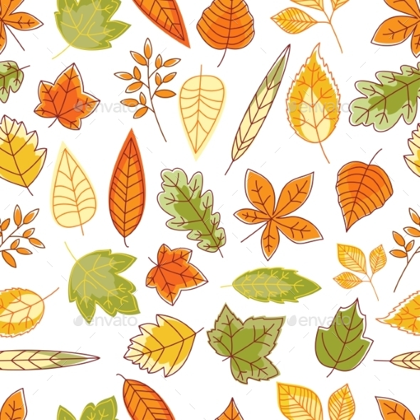 Seamless Pattern With Autumn Leaves - Seasons Nature