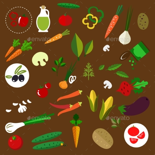 Fresh Vegetables And Herbs Flat Icons - Food Objects